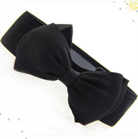 Hot Sale Fashion Women Lady Bowknot Stretch Elastic Bow Wide Stretch Buckle Waistband Waist