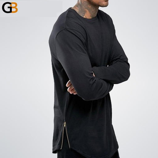 Men's Street Wear Extend Swag Side Zip Super Longline Long Sleeve T-Shirt - SolaceConnect.com