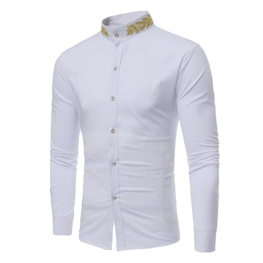 Stand Collar Gold Embroidery Long Sleeve Slim Fit Men's Cotton Shirt - SolaceConnect.com