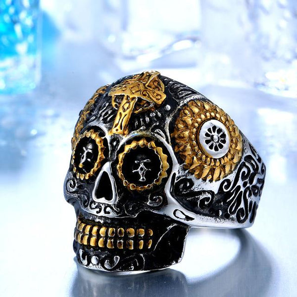 Men's High Quality Cool Gothic Stainless Steel Skull Carving Biker Ring - SolaceConnect.com