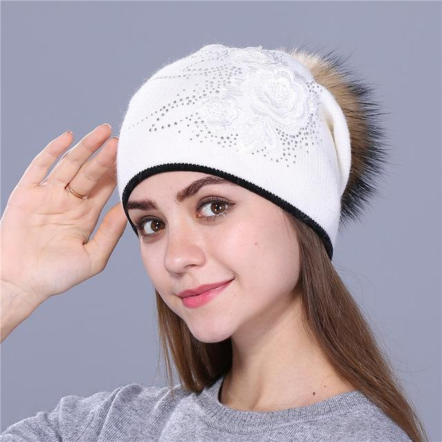 Winter Rabbit Fur Wool Knitted Mink Hat with Shining Rhinestone for Women - SolaceConnect.com