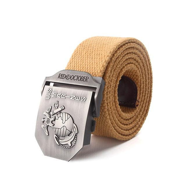 Military Army Tactical Men's Canvas Belt with U.S Marines Alloy Buckle - SolaceConnect.com