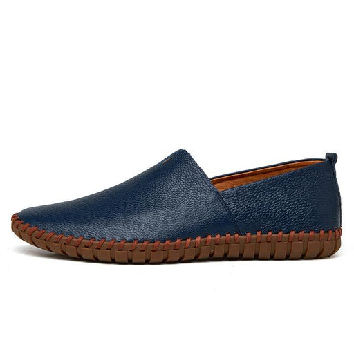 Handmade Fashion Genuine Cow Leather Blue Slip On Men's Loafers - SolaceConnect.com