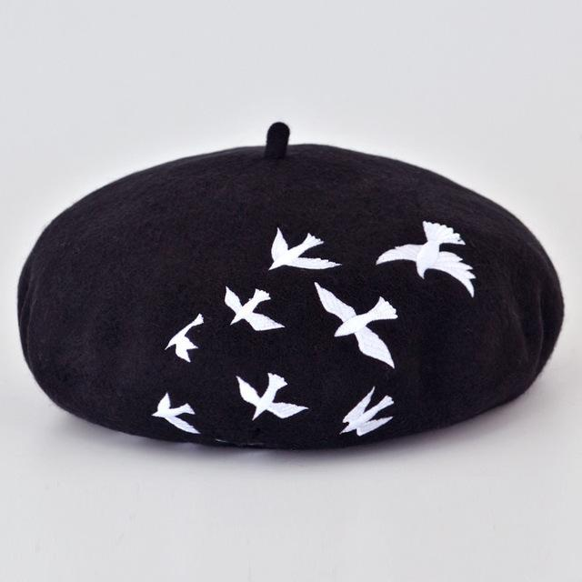 Artistic Embroidery Flat Cap Winter Wool Felt Berets for Women - SolaceConnect.com