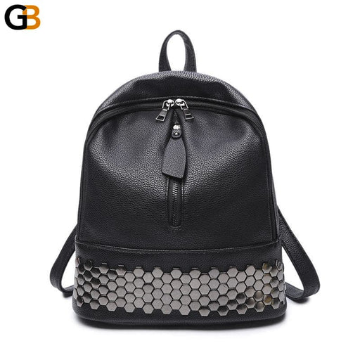 Women's High Quality Preppy Style Synthetic Leather Black Rivet Backpack - SolaceConnect.com