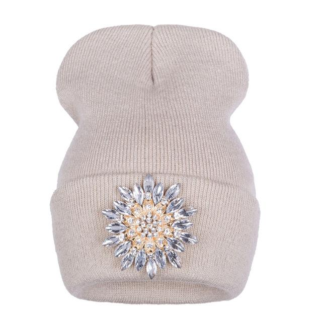 79f15de8b3c ... Ralferty Winter Hats For Women Knitted Luxury Flower Crystal Beanies  Hat Off White Female - SolaceConnect ...