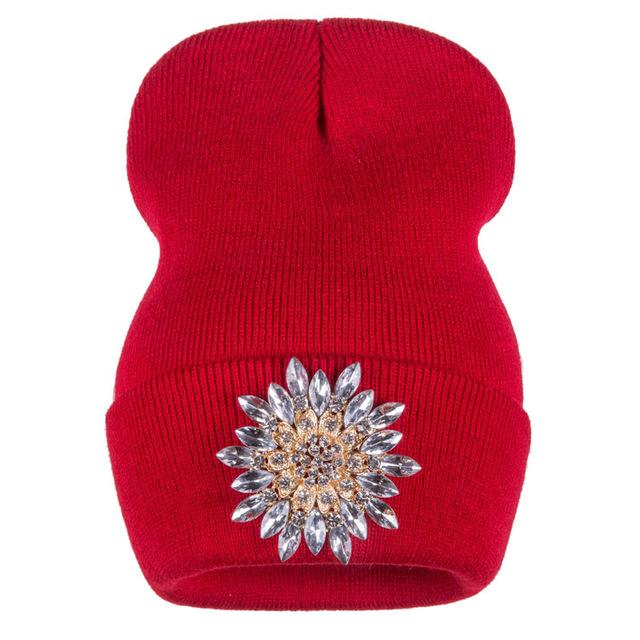 29204f4b839 ... Ralferty Winter Hats For Women Knitted Luxury Flower Crystal Beanies Hat  Off White Female - SolaceConnect ...