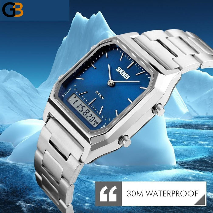 Dual Time Display LED Square Multiple Time Zone Wristwatch for Men - SolaceConnect.com