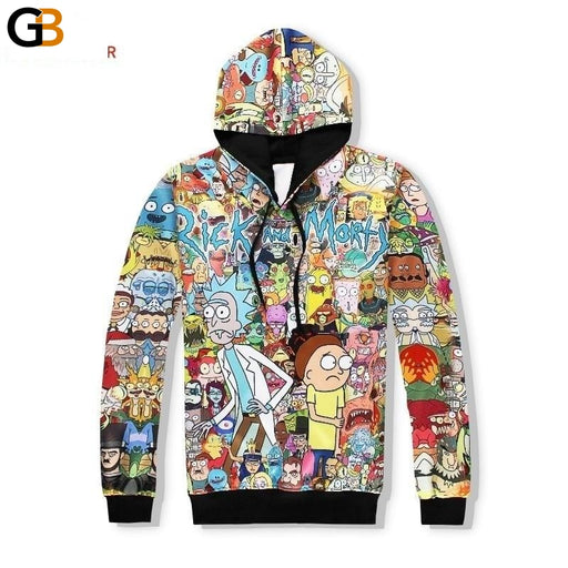 Fashion 3D Funny Cartoon Print Couple Hoodies with Hat Sweatshirts - SolaceConnect.com