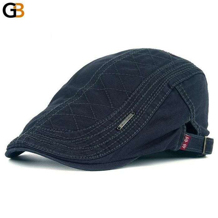Peaked Autumn Casual Beret Hats Grid Embroidered Cotton Caps for Men - SolaceConnect.com
