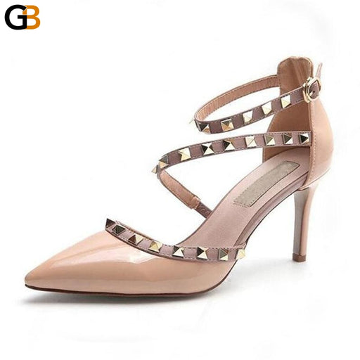 Women's High Heels Sexy Pointed Toe Nude Pumps with Buckle & Rivets - SolaceConnect.com