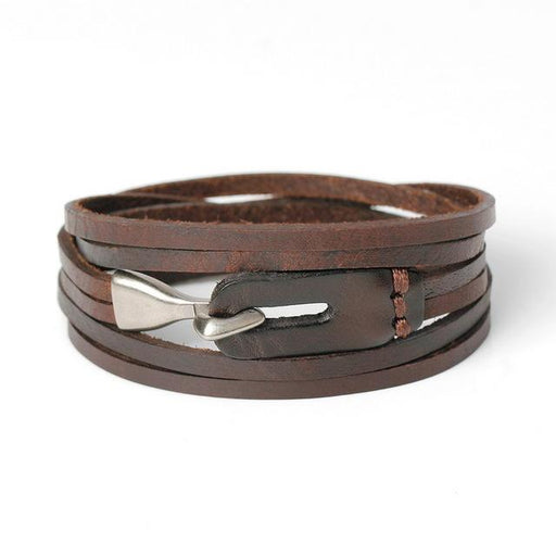 Genuine Leather Hook Prong Setting Bandage Charm Bracelet for Men - SolaceConnect.com