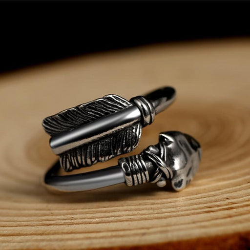 Love Cupid's Arrows Big Black Genuine 925 Silver Adjustable Ring for Men - SolaceConnect.com