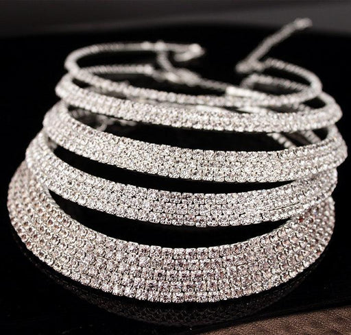 Hot Classic Rhinestone Crystal Choker Necklace Earrings Bracelet Set - SolaceConnect.com