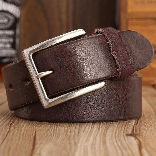 Vintage Cowboys 100% Real Full Grain Brown Genuine Leather Designer Belt - SolaceConnect.com