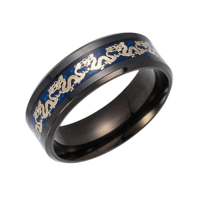 Men's Chinese Traditional Gold Dragon Inlay Ring in Blue Stainless Steel - SolaceConnect.com