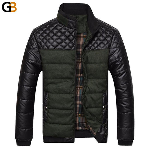 Mountainskin Brand Men's Jackets and Coats 4XL PU Patchwork Designer Jackets Men Outerwear Winter - SolaceConnect.com