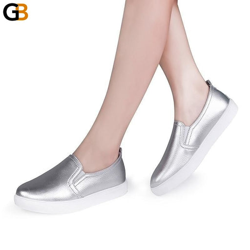 High Quality Casual Loafers Flat Slip On Round Toe Leather Shoes for Women - SolaceConnect.com