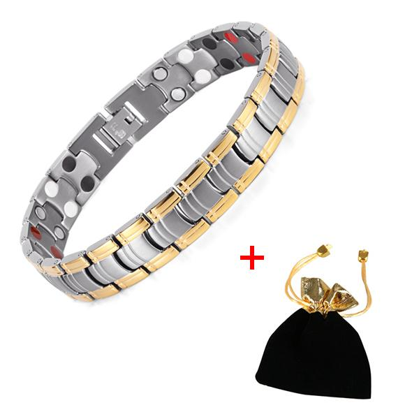 Bio Energy Gold Color Magnetic Health Toggle Clasp Bracelet for Men Women - SolaceConnect.com