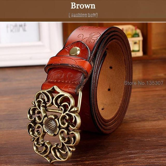 Second Layer Cow Skin Strap Fashion Floral Buckle Vintage Belts for Women - SolaceConnect.com