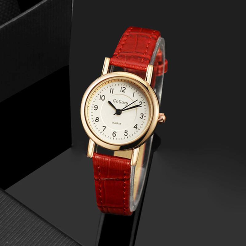 Rose Gold Leather Round Case Quartz Wristwatches for Women - SolaceConnect.com