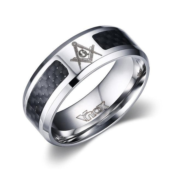 Men's Masonic Stainless Steel Carbon Fibre 8mm Punk Round Wedding Ring - SolaceConnect.com
