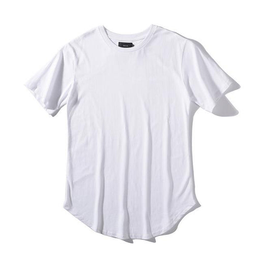 Solid Color Curve Hem Casual Men's Longline Hip Hop T-Shirt for Summer - SolaceConnect.com