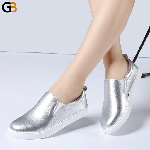 Autumn Women's Ballet Fashion Leather White Black Slip On Loafers - SolaceConnect.com