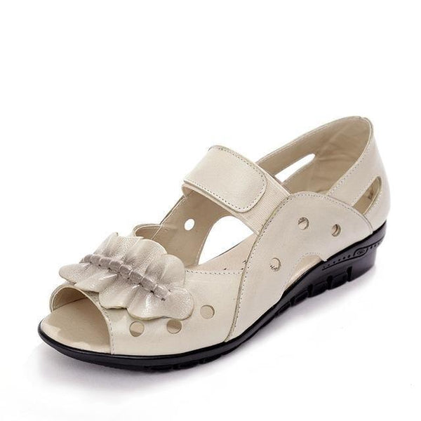 Women's Genuine Leather Flat Sandals Casual Open Toe Summer Shoes - SolaceConnect.com