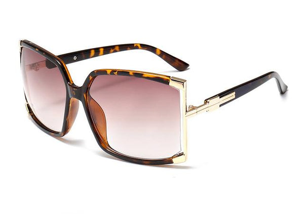 Women's Big Frame Designer Hollow Square Sunglasses with Mirror Lens - SolaceConnect.com