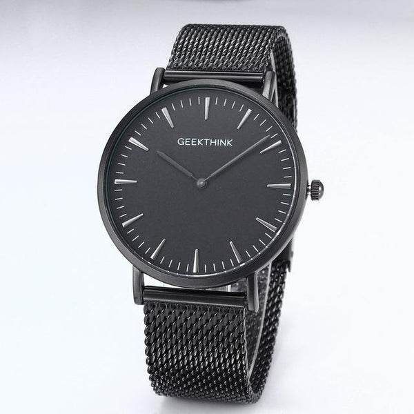 Luxury Black Japan Quartz Watch Stainless Steel Band and Wooden Face - SolaceConnect.com