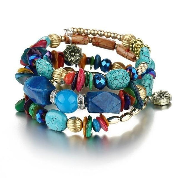 Vintage Resin Stone Boho Multilayer Beads Charm Bracelet for Women - SolaceConnect.com