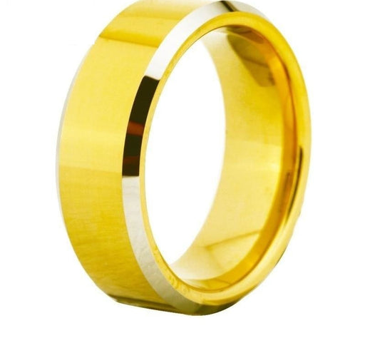 Silver Gold Bevelled Bridal Tungsten Fashion Ring in Round Shape - SolaceConnect.com