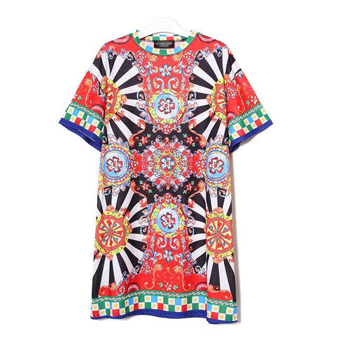 Summer Women Black Blue Floral Printed Beach Wear Dress O-Neck Half Sleeve Cute Ladies Tshirt - SolaceConnect.com