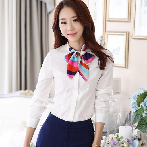 Bow Shirts Fashion Women Tie Blouse Formal elegant White Female Tops Office Lady Work Wear - SolaceConnect.com