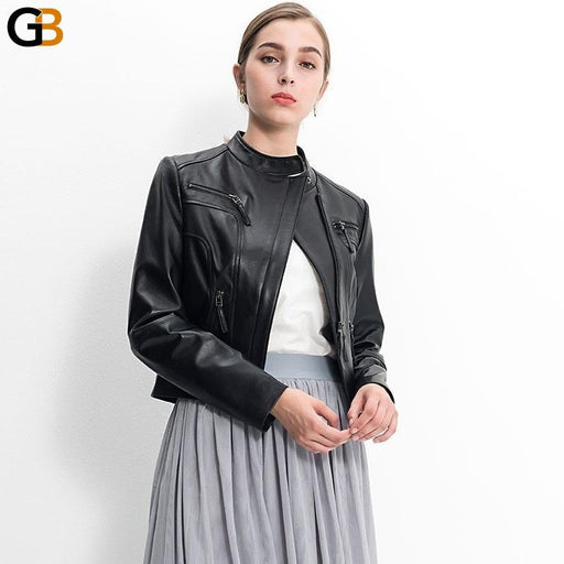 Autumn women jacket lambskin motorcycle coat genuine leather jacket - SolaceConnect.com
