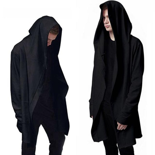 Men's Long Sweatshirts with Black Gown Hip Hop Mantle Hoodies - SolaceConnect.com