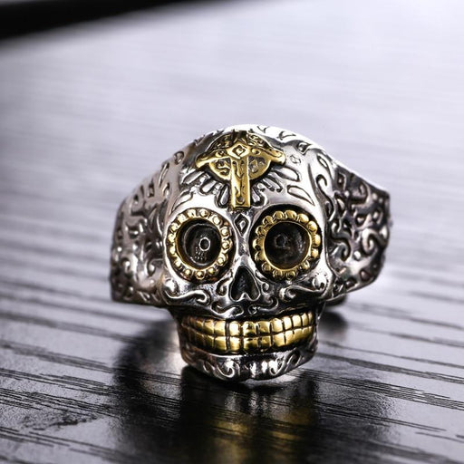Men's Vintage 925 Sterling Silver Skull Gothic Punk Gold Color Cross Ring - SolaceConnect.com