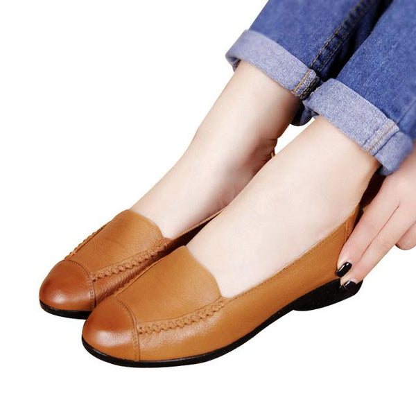 Spring and Autumn Women's Flats Fashion Genuine Leather Soft Shoes - SolaceConnect.com