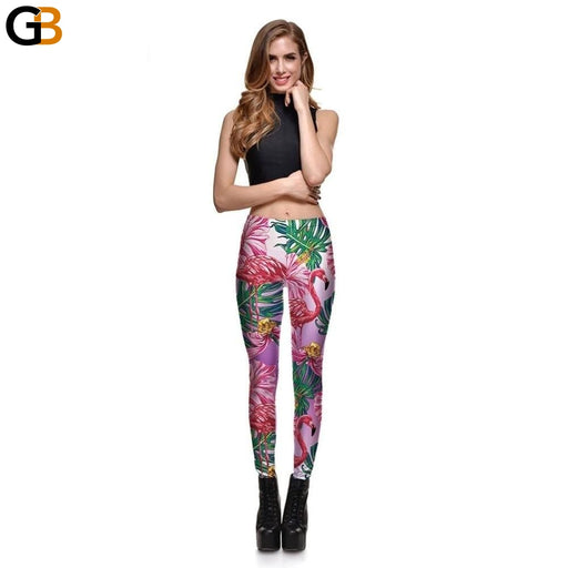 Leggings Fitness Fresh Women's Sexy Leggings Fashion Blood Swan Flower Pink Stretch Digital Print - SolaceConnect.com
