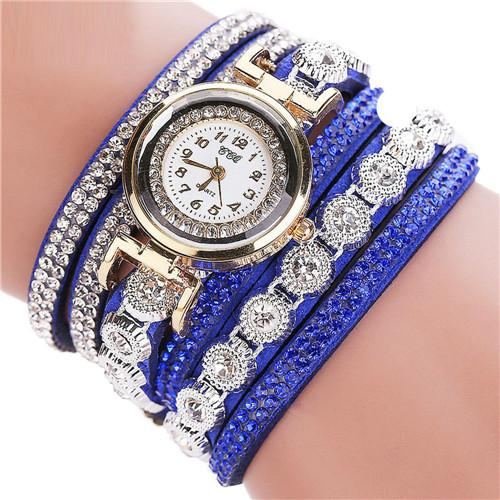 Women's Luxury Vintage Fashion Leather Fabric Gold Analog Rhinestone Clock - SolaceConnect.com