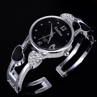 Heart Shaped Stainless Steel Bracelet Watch Clock for Women with Rhinestone - SolaceConnect.com
