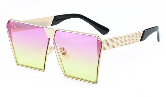 Oversized Celebrity Metal Luxury Square Sunglasses for Men & Women - SolaceConnect.com
