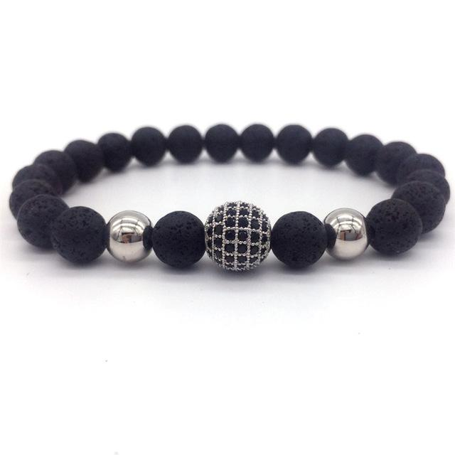 Men's High Quality Natural Stone Beads Black CZ Ball Charm Bracelets - SolaceConnect.com