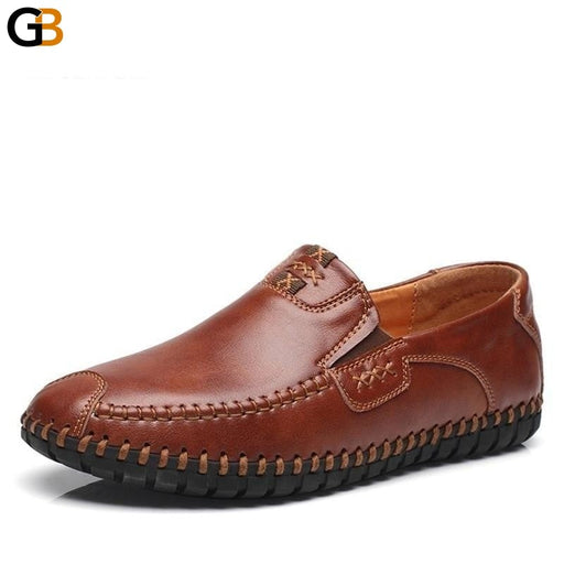 Quality Cow Leather Men's Slip On Summer Fashion Oxford Flat Shoes - SolaceConnect.com