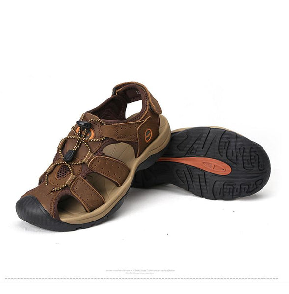 Genuine Leather Large Size Summer Fashion Sandal Shoes for Men - SolaceConnect.com