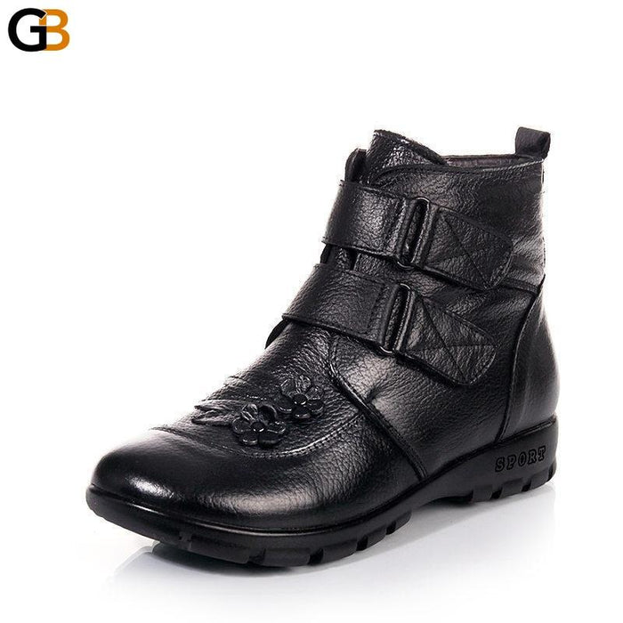 Plus Size 35-43 Winter Women's Warm Genuine Leather Flat Snow Boots - SolaceConnect.com