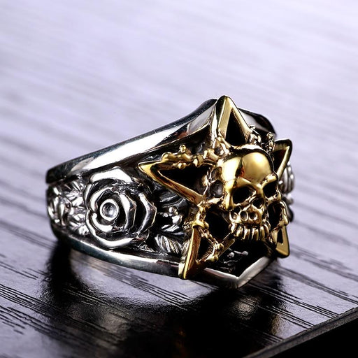 Solid 925 Sterling Silver Gold Color Skull 3D Rose Men's Punk Vintage Ring - SolaceConnect.com