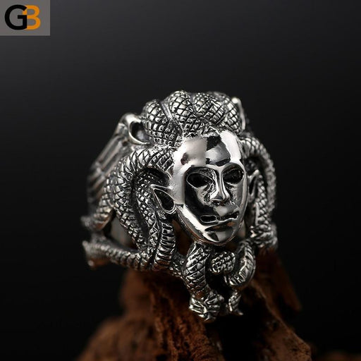 Buddha God Head Black Vintage Punk Men's Ring Gothic 925 Silver Jewelry - SolaceConnect.com