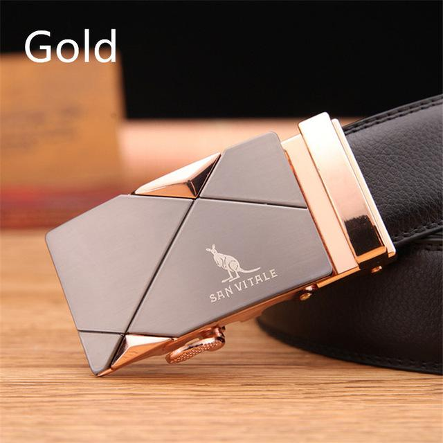 men's belt fashion 100% Genuine Leather mens belts for men High quality metal automatic buckles - SolaceConnect.com